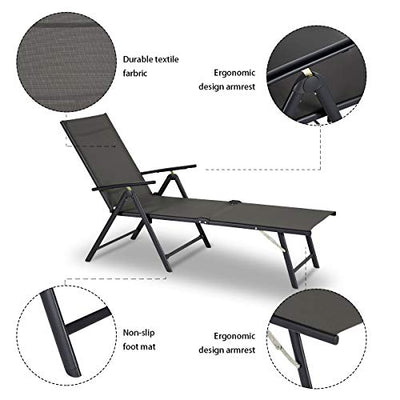 Esright Outdoor Chaise Lounge Folding Chair