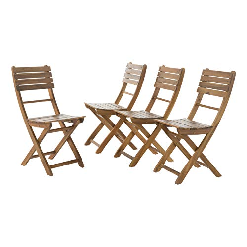 Acacia Wood Foldable Outdoor Dining Chairs | Set of 4 | Perfect for Patio