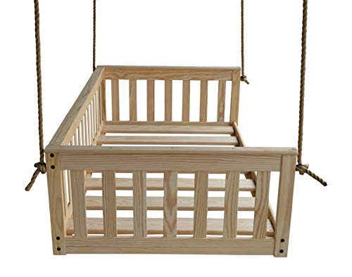 A&L Furniture VersaLoft Amish-Made Pine Twin Mission Swingbed with Rope