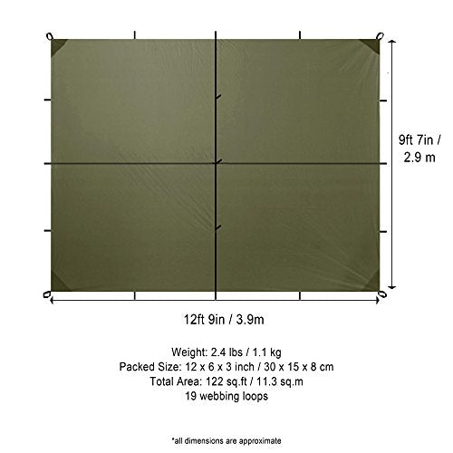 Lightweight Waterproof Safari Tarp 13' x 10'