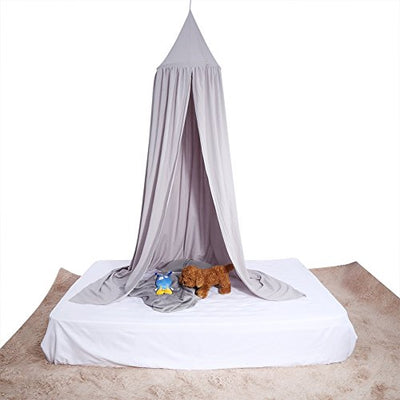 Baby Bedding Round Dome Bed Canopy Kids Play Tent Hanging Mosquito Net Curtain For Baby Kids Reading Playing Sleeping Room Decoration, Gray