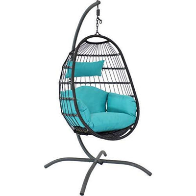 Bohemian Hanging Egg Chair with Seat Cushions and Stand: Black