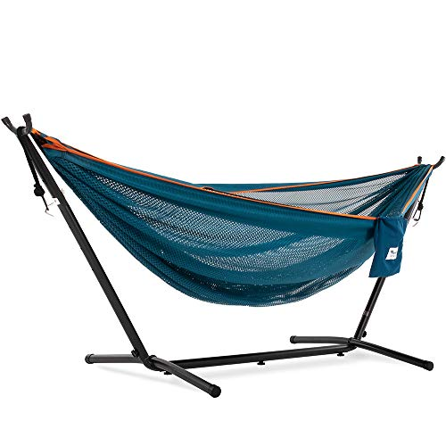 Vivere Double Mesh Hammock with Space Saving Steel Stand: Blue/Orange