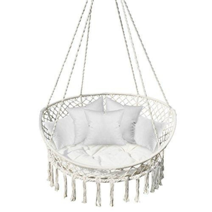 Bohemian Style Hanging Macramé Swing Chair: Canvas White
