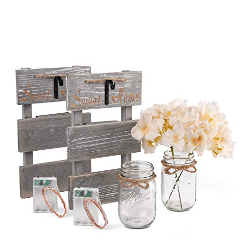 Rustic Grey Mason Jar Sconces for Home Decor: Set of 2