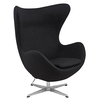 LeisureMod Arne Jacobsen Egg Chair in Black Wool