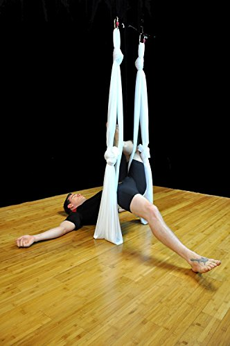 Dasking Deluxe 10 Yards(10m/set) Yoga Swing Aerial Yoga Hammock kit with all Hardware, Fabric & Guide (White)