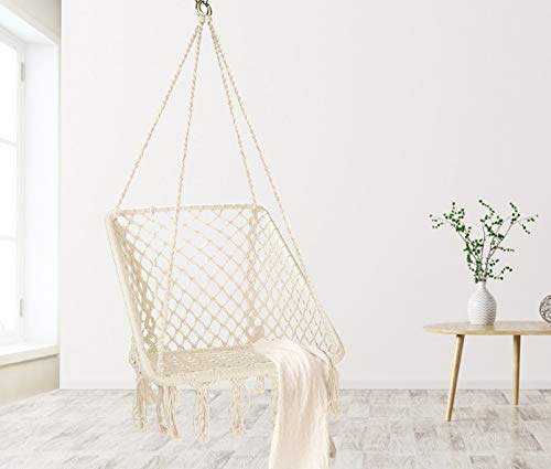 Hammock Chair Macrame Swing: Beige