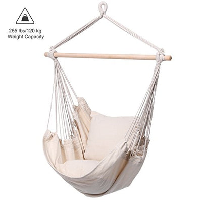 Finether Padded Hammock Hanging Chair Swing with Pillow-Beige