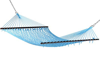 Jumbo Caribbean Rope Hammock and Metal Tri Beam Stand Mocha: Light Blue