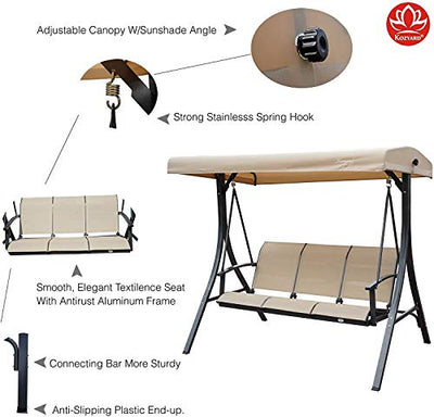 3 Person Outdoor Patio Swing