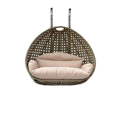 Island Gale Elegant Design Double SEAT Wicker Swing Chair DIY Suit Your OWN Hanging Convenience. (Charcoal/Grey)