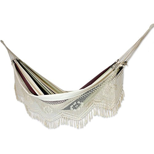 NOVICA 2 Person Cotton Brazilian Hammock with White Crochet Fringe