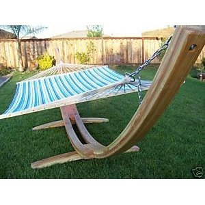 Natural Wooden Arc Hammock Stand + Quilted Double Padded Hammock Bed