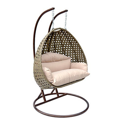 Island Gale Luxury Comfort 2 Person Outdoor, Patio, Hanging Wicker Swing Chair (X Large, Latte w LT Cushion)