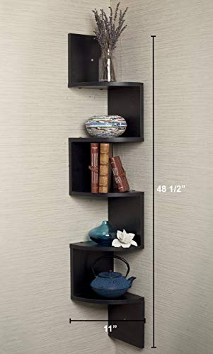 Greenco 5 Tier Wall Mount Corner Shelves Espresso Finish