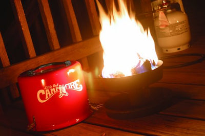 Little Red Campfire 11.25-Inch Portable Propane Outdoor Camp Fire by Camco , Approved For RV Campgrounds - 65,000 BTU's Includes 8 Foot Propane Hose  (58031)
