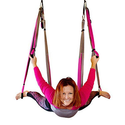 Yogatail Aerial Yoga Swing - Gym Strength Antigravity Yoga Hammock - Inversion Trapeze Sling Equipment with Two Extender Hanging Straps - Pink Grey Swings & Beginner Instructions Guide