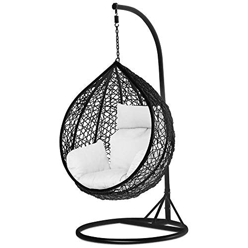 Black Rattan Wicker Swing Chair For Garden And Patio Hammock Town