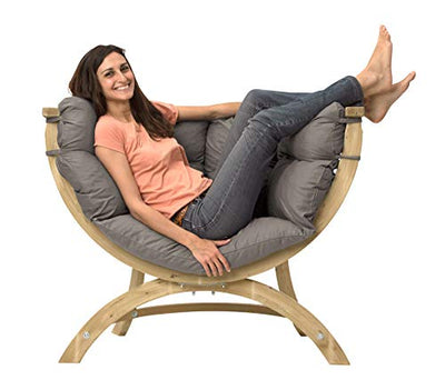 "BYER OF MAINE, Globo Sienna Uno Chair, Treated Spruce Wood, Weatherproof, Waterproof, Agora Outdoor Fabric Cushion, 48"" W x 37"" H x 26"" D, Holds up to 260lbs, Taupe"