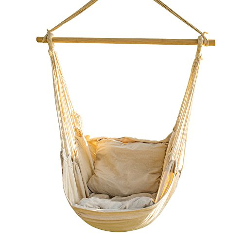 CCTRO Hanging Rope Hammock Chair Swing Seat, Large Brazilian Hammock Net  Chair Porch Chair For