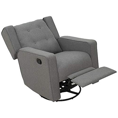 HOMCOM Polyester Linen Fabric Swivel Gliding Recliner Chair, Grey