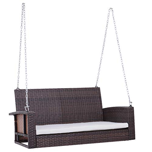 2-Person Wicker Hanging Porch Swing