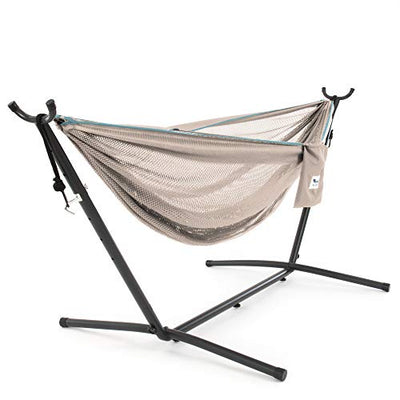 Vivere Mesh Hammock with Stand: Sand and Sky