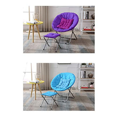 KKLL Folding Lazy Chair Moon Sun Chair Student Dormitory Round Chair Comfy Saucer Moon Dorm Chairs (Color : Navy (Detachable+Footstool))