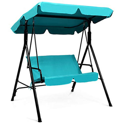 2 Person Cushioned Steel Frame Sturdy Glider Hammock with Canopy