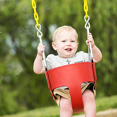 High Back Full Bucket Toddler Swing Seat with Plastic Coated Chains
