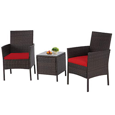 Incbruce Patio Bistro Set 3-Piece Outdoor Wicker Furniture Sets