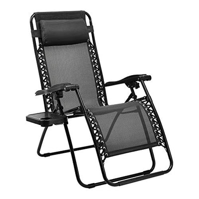 Amazon Basics Zero Gravity Chair with Side Table, Set of 2, Black