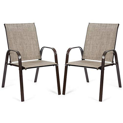 Giantex 2 Piece Patio Chairs, Outdoor Chairs with Breathable Fabric