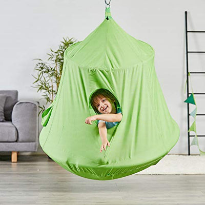 Kids Outdoor Waterproof Play Tent Hanging Hammock with Lights String: Green