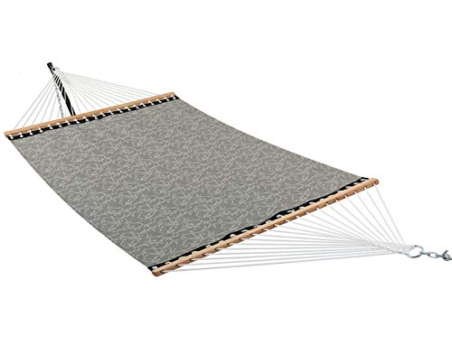 Quick Dry Double Hammock With Solid Wood Spreader Bar: Mocha