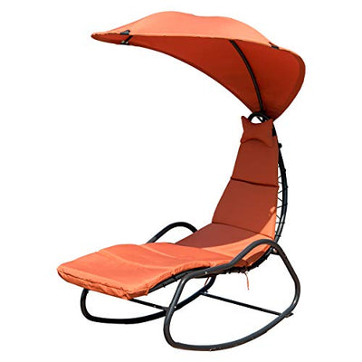 Giantex Chaise Lounge Swing: (Orange)