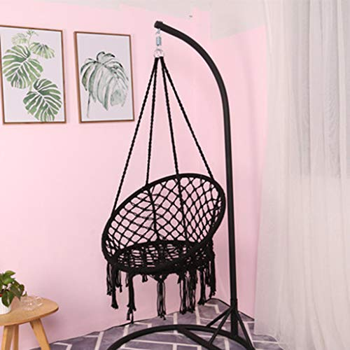 Macrame Hanging Swing Chair: Black