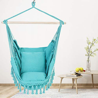 Patio Watcher Oversized Hammock Chair Hanging Rope Swing Seat with 2 Cushions and Hardware Kits, Perfect for Indoor, Outdoor, Home, Bedroom, Patio, Yard,Deck, Garden, Blue
