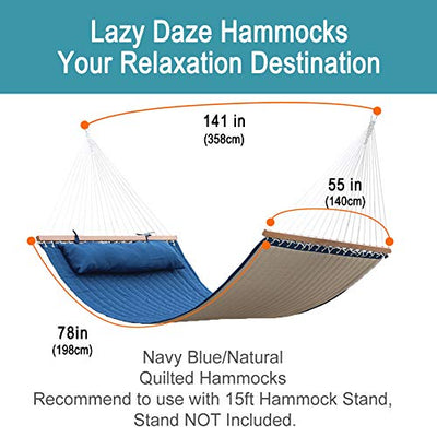 "Lazy Daze Hammocks Quilted Fabric Hammock Double Sided Hammock Swing w/Spreader Bar and Pillow, 78""x55"" for Two Person, 450 Pound Capacity, for Backyard, Porch, Outdoor and Indoor, Navy Blue/Natural"
