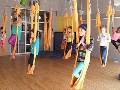 Dasking 5m Premium Aerial Silks Equipment Aerial Yoga Hammock Set antigravity yoga Swing Aerial Silk Yoga Set Safe Deluxe Aerial Kit (Orange)