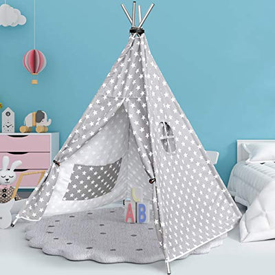 HAUEA Teepee Tent for Kids Stainless Steel Foldable Kids Play Tent Indoor for Boys and Girls Natural Cotton Canvas Teepee Play Tent with Carry Case
