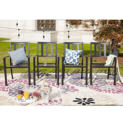 Steel Outdoor Patio Dining Arm Chairs Set of 4 for Garden