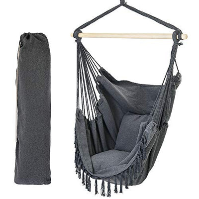 Patio Watcher Oversized Hammock Chair Hanging Rope Swing Seat with 2 Cushions and Hardware Kits, Perfect for Indoor, Outdoor, Home, Bedroom, Patio, Yard,Deck, Garden, Gray
