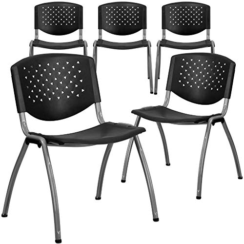 Black Plastic Stack Chair with Titanium Frame