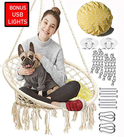Macrame Bohoemian Hanging Chair with Included Cushion & Sturdy Hanging Kit