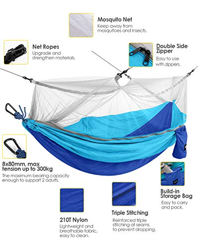 Kootek Camping Hammock with Mosquito Net Double & Single Portable Hammocks Parachute Lightweight Nylon with Tree Straps for Outdoor Adventures Backpacking Trips (Blue & Sky Blue, Large)