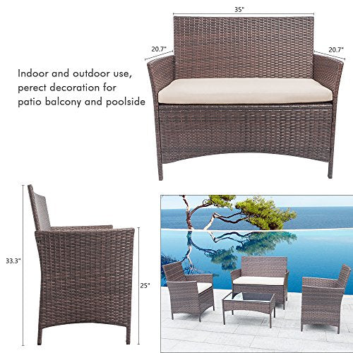 Homall 4 Pieces Outdoor Patio Furniture Sets Clearance
