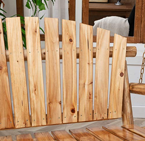 Anjor 800lbs Rustic Hanging Log Porch Swing Wood with Chains