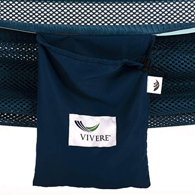 Vivere Mesh Hammock with Stand: Navy and Turquoise